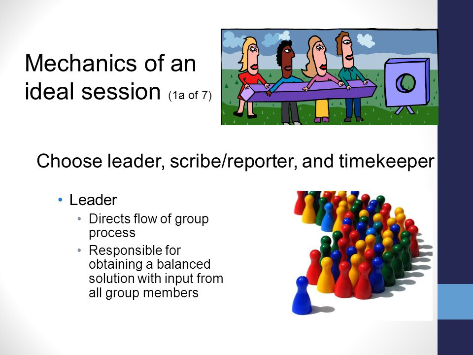 Leader Directs flow of group process Responsible for obtaining a balanced solution with input from all group members Mechanics of an ideal session (1a