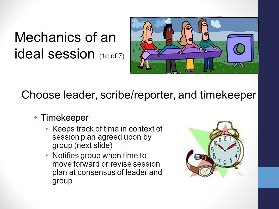 Timekeeper Keeps track of time in context of session plan agreed upon by group (next slide) Notifies group when time to move forward or revise session plan at consensus of leader and group Mechanics of an ideal session (1c of 7) Choose leader, scribe/reporter, and timekeeper