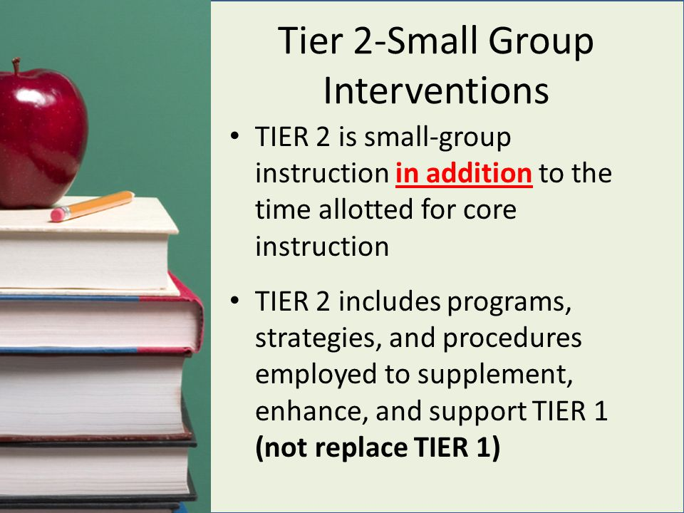 Tier 2-Small Group Interventions TIER 2 is small-group instruction in addition to the time allotted for core instruction TIER 2 includes programs, strategies, and procedures employed to supplement, enhance, and support TIER 1 (not replace TIER 1)
