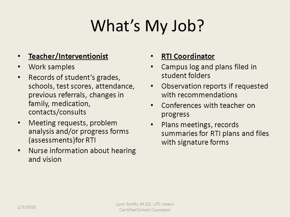 2/3/2010 Lynn Smith, M.Ed., LPC-Intern Certified School Counselor What's My Job.