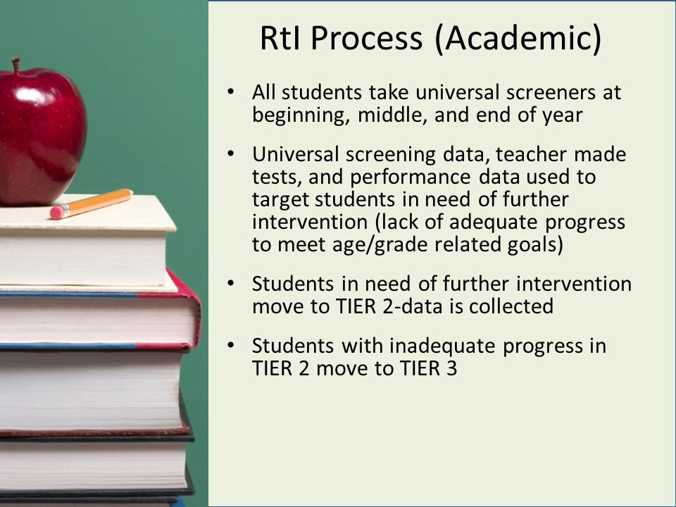RtI Process (Academic) All students take universal screeners at beginning, middle, and end of year Universal screening data, teacher made tests, and performance data used to target students in need of further intervention (lack of adequate progress to meet age/grade related goals) Students in need of further intervention move to TIER 2-data is collected Students with inadequate progress in TIER 2 move to TIER 3