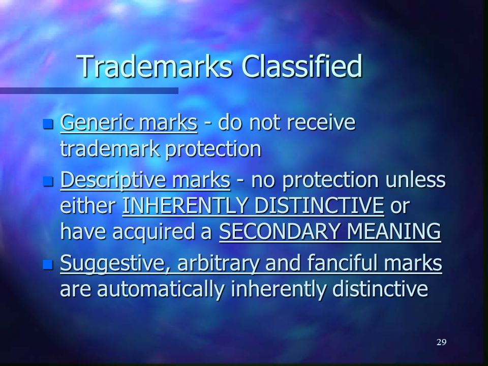 29 Trademarks Classified n Generic marks - do not receive trademark protection n Descriptive marks - no protection unless either INHERENTLY DISTINCTIVE or have acquired a SECONDARY MEANING n Suggestive, arbitrary and fanciful marks are automatically inherently distinctive