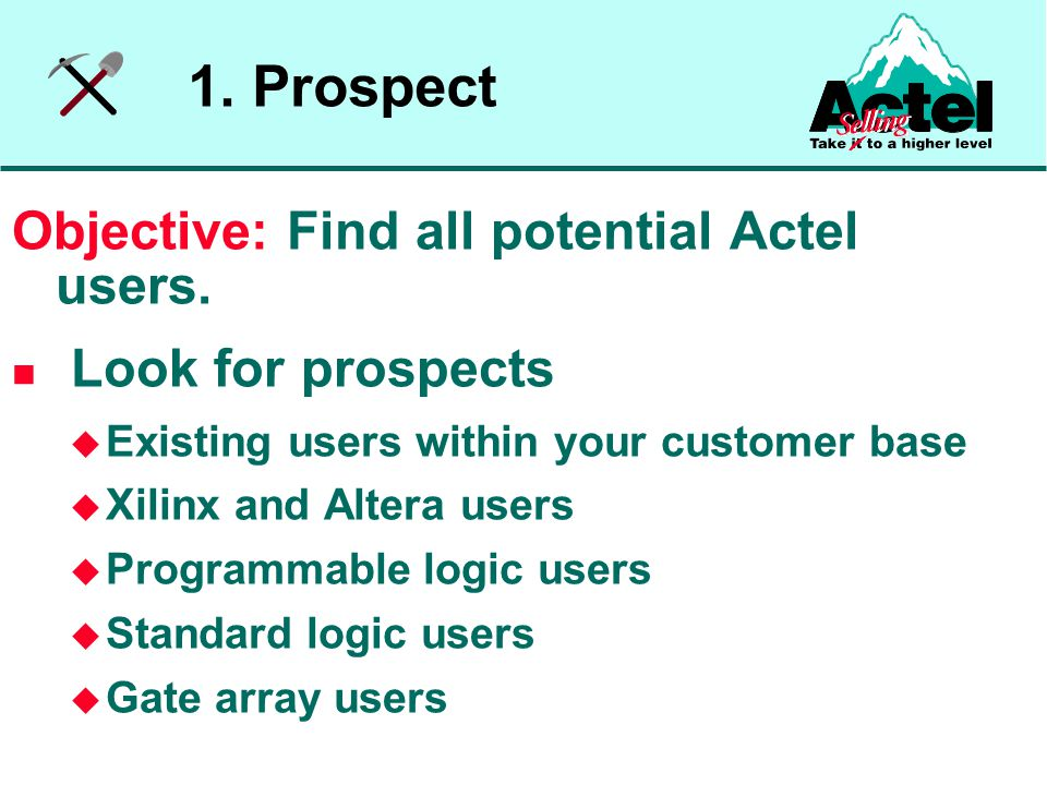 1. Prospect Objective: Find all potential Actel users.