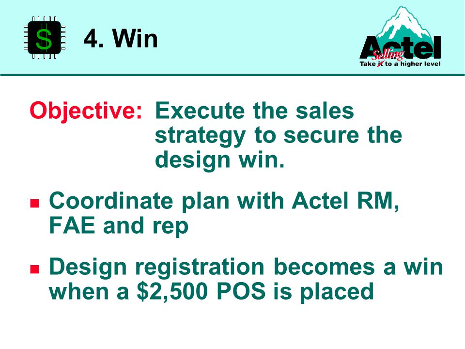 S Objective:Execute the sales strategy to secure the design win.