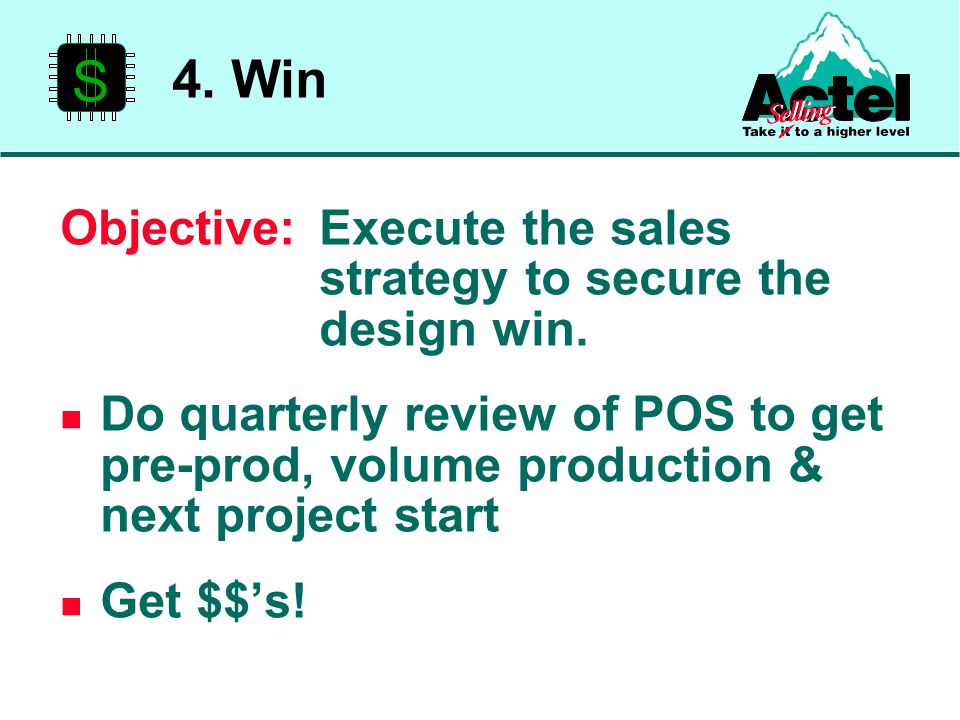 Objective:Execute the sales strategy to secure the design win.