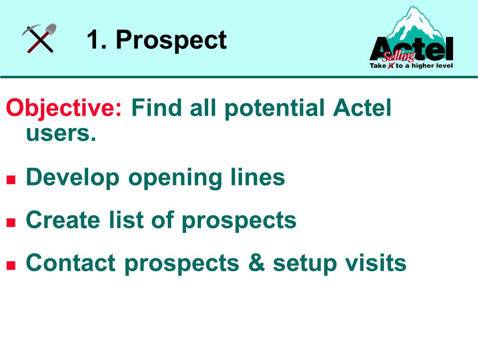 Breakout #2 Review your prospect list and eliminate any that are not good fits Pick your best prospect Compile at least 5 qualifying questions that you will use to determine if your prospects will likely become design wins