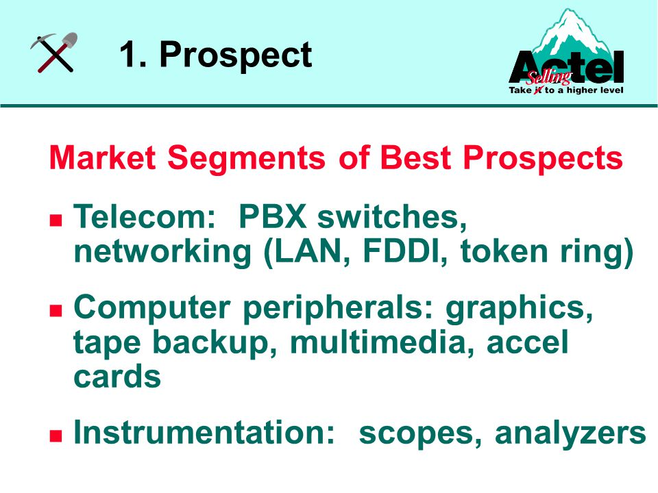 Market Segments of Best Prospects Telecom: PBX switches, networking (LAN, FDDI, token ring) Computer peripherals: graphics, tape backup, multimedia, accel cards Instrumentation: scopes, analyzers 1.