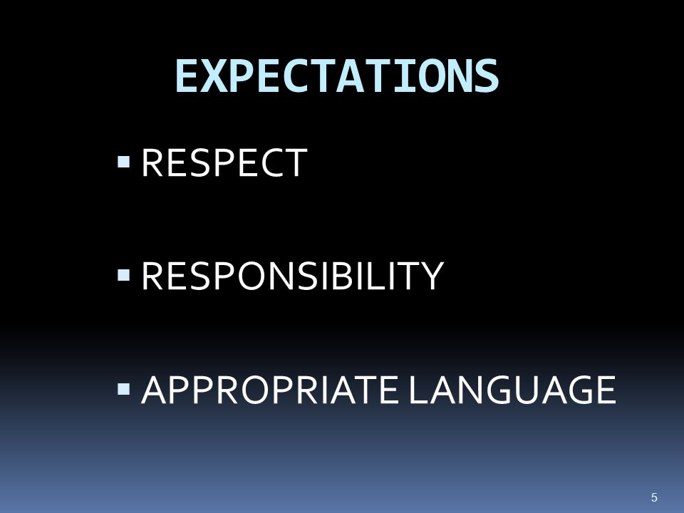 5 EXPECTATIONS  RESPECT  RESPONSIBILITY  APPROPRIATE LANGUAGE