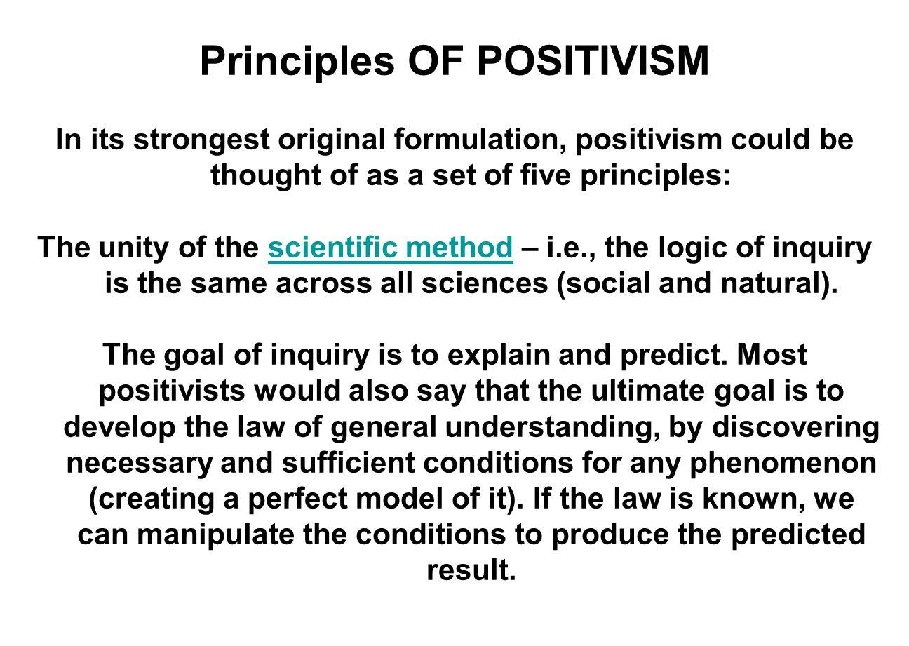 Principles OF POSITIVISM Scientific knowledge is testable.