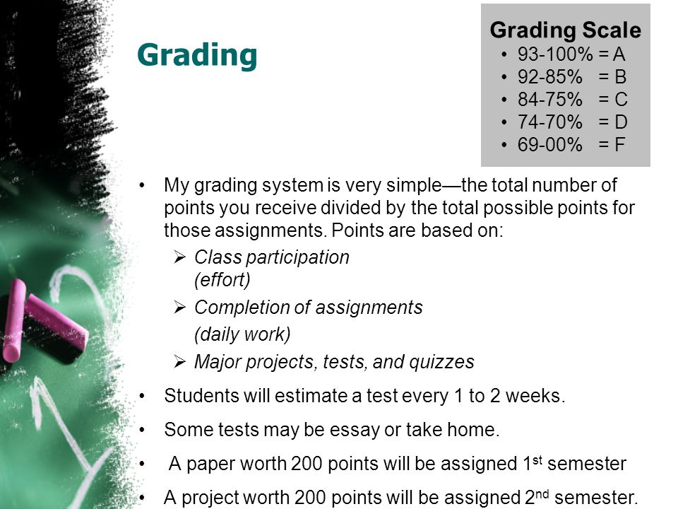 Grading My grading system is very simple—the total number of points you receive divided by the total possible points for those assignments. Points are