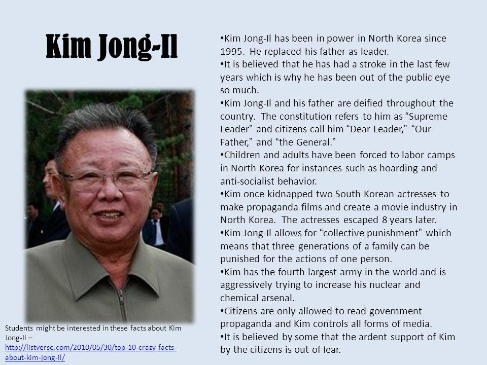 Kim Jong-Il Kim Jong-Il has been in power in North Korea since 1995.