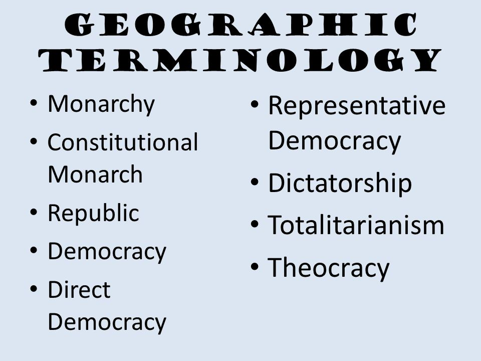 Geographic Terminology Monarchy Constitutional Monarch Republic Democracy Direct Democracy Representative Democracy Dictatorship Totalitarianism Theocracy