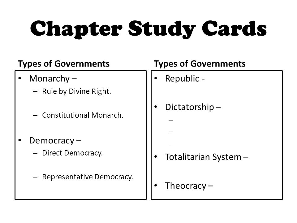 Chapter Study Cards Types of Governments Monarchy – – Rule by Divine Right.