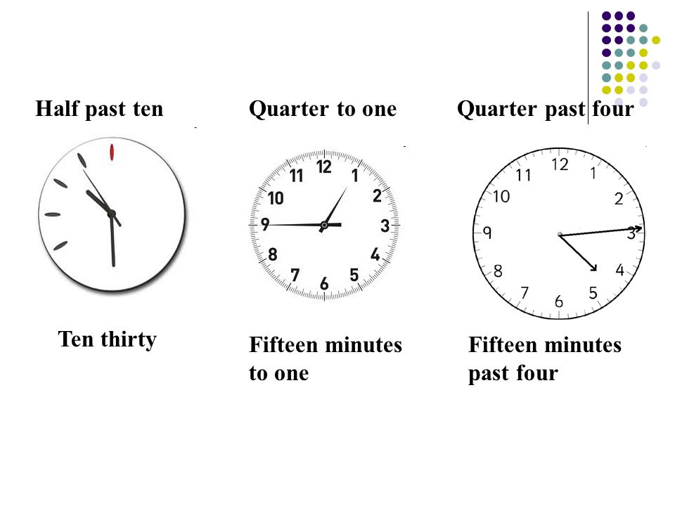 Half past ten Ten thirty Fifteen minutes to one Quarter to one Fifteen minutes past four Quarter past four