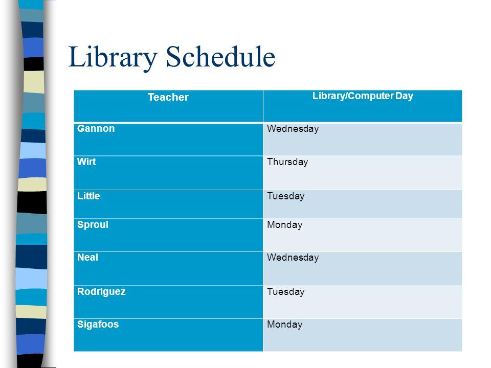 Specials Schedule by POD Teacher TeacherMon.Tues.Wed.Thurs.Fri.