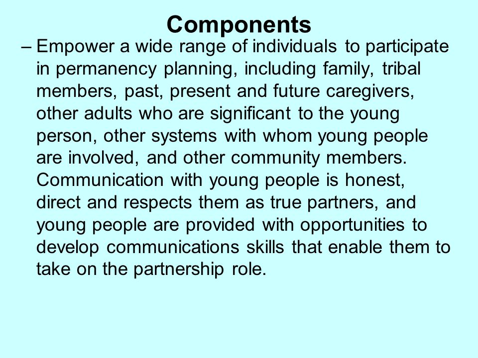 Components –Empower a wide range of individuals to participate in permanency planning, including family, tribal members, past, present and future care