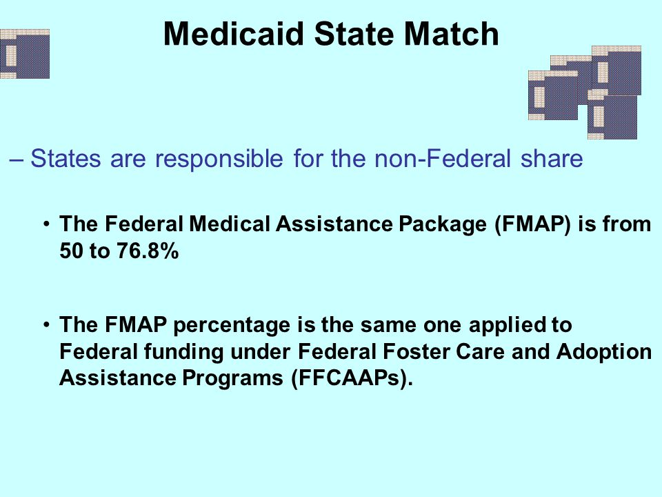 Medicaid State Match –States are responsible for the non-Federal share The Federal Medical Assistance Package (FMAP) is from 50 to 76.8% The FMAP perc