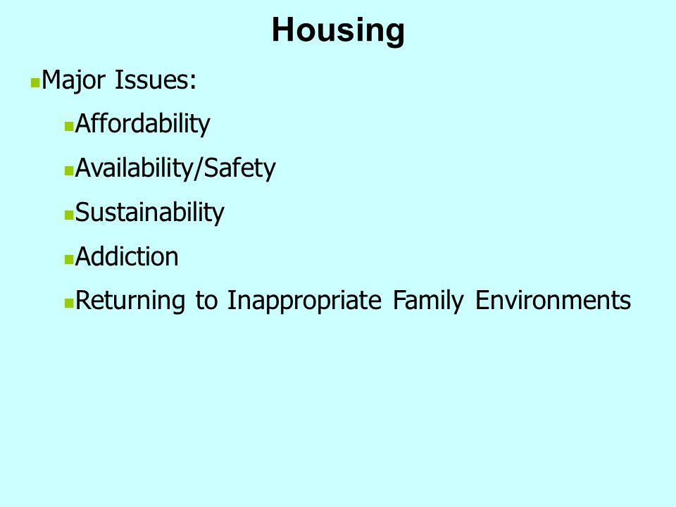 Housing Major Issues: Affordability Availability/Safety Sustainability Addiction Returning to Inappropriate Family Environments