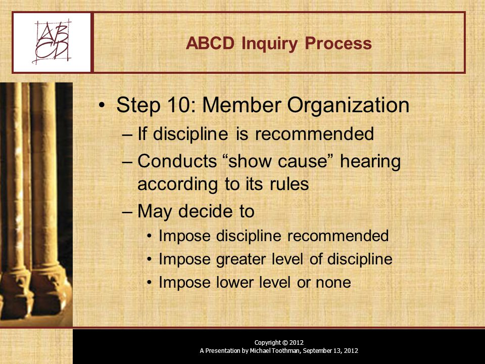 Copyright © 2012 A Presentation by Michael Toothman, September 13, 2012 ABCD Inquiry Process Step 10: Member Organization –If discipline is recommended –Conducts show cause hearing according to its rules –May decide to Impose discipline recommended Impose greater level of discipline Impose lower level or none