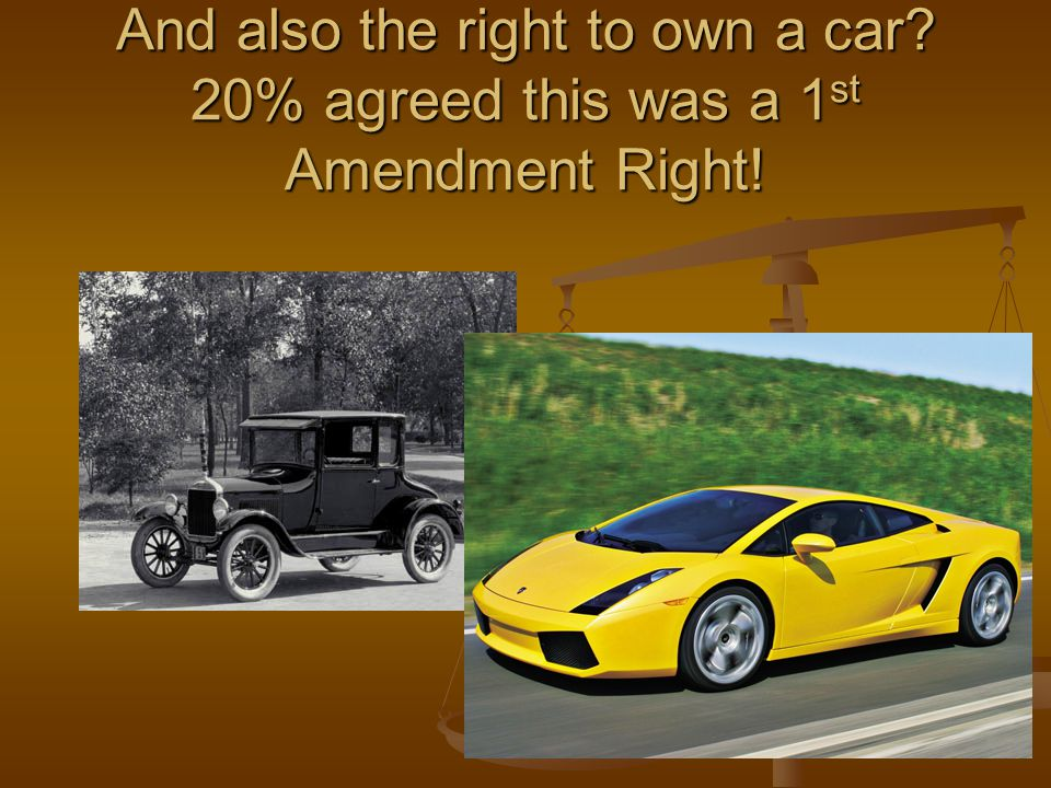 And also the right to own a car 20% agreed this was a 1 st Amendment Right!