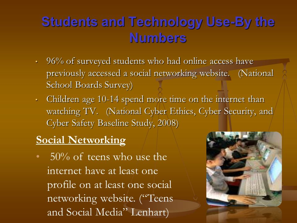 Students and Technology Use-By the Numbers 96% of surveyed students who had online access have previously accessed a social networking website.