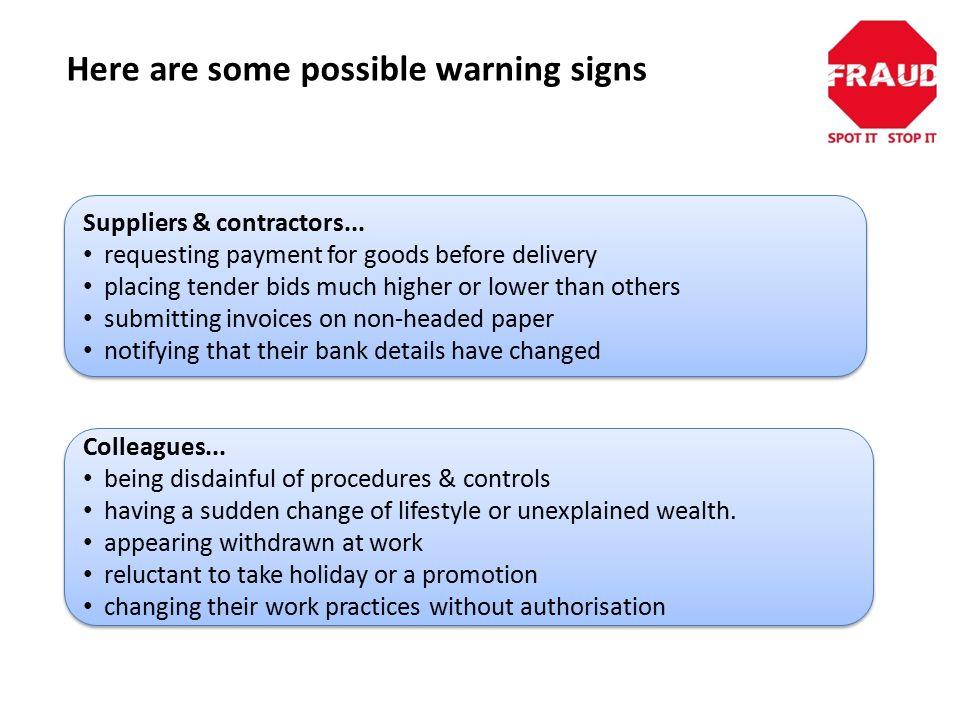 Suppliers & contractors...