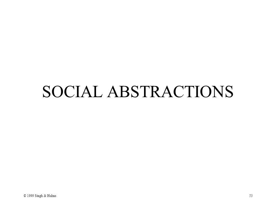© 1999 Singh & Huhns53 SOCIAL ABSTRACTIONS
