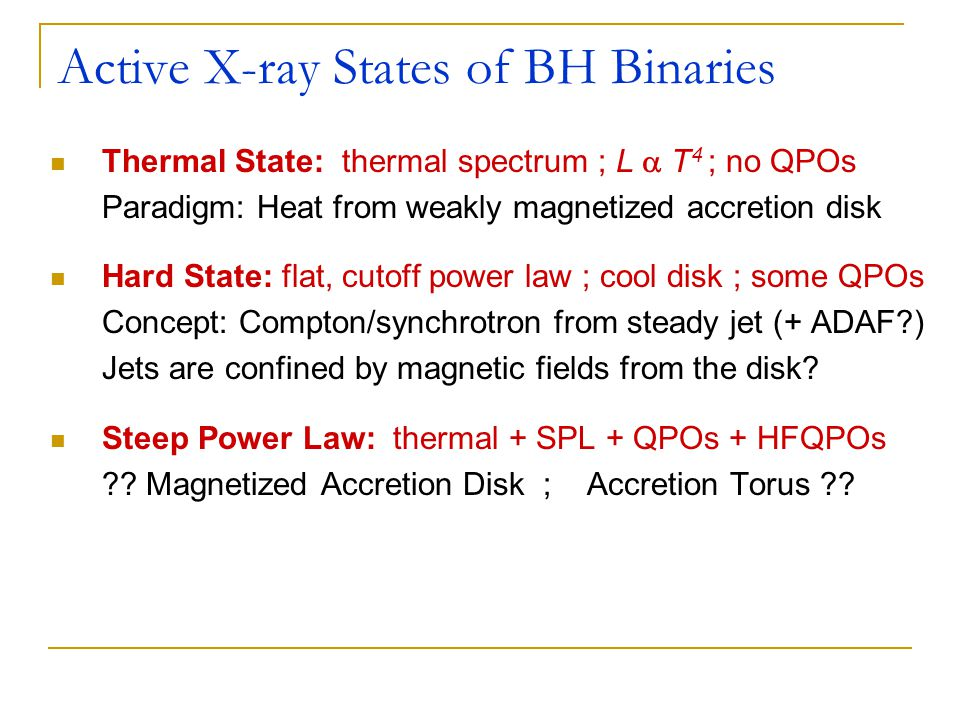 Active X-ray States of BH Binaries Thermal State: thermal spectrum ; L  T 4 ; no QPOs Paradigm: Heat from weakly magnetized accretion disk Hard State: flat, cutoff power law ; cool disk ; some QPOs Concept: Compton/synchrotron from steady jet (+ ADAF?) Jets are confined by magnetic fields from the disk.