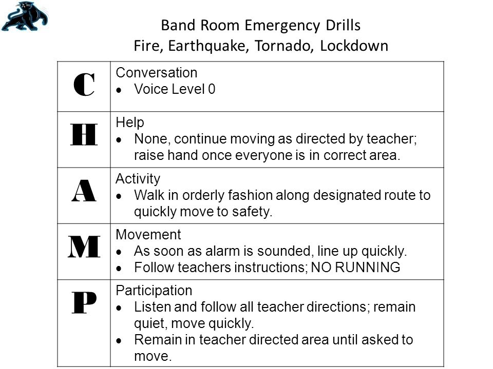 Band Room Emergency Drills Fire, Earthquake, Tornado, Lockdown C Conversation  Voice Level 0 H Help  None, continue moving as directed by teacher; raise hand once everyone is in correct area.