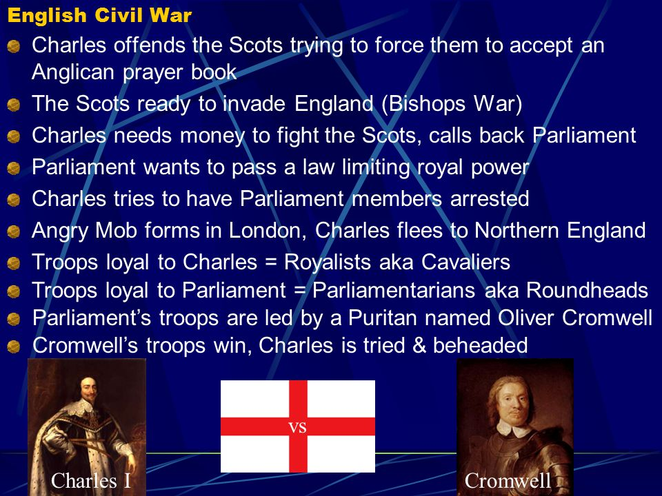 Charles I defies Parliament Charles I takes the throne in 1625 Charles starts a war with France & Spain - needs money! Parliament refuses to give Char