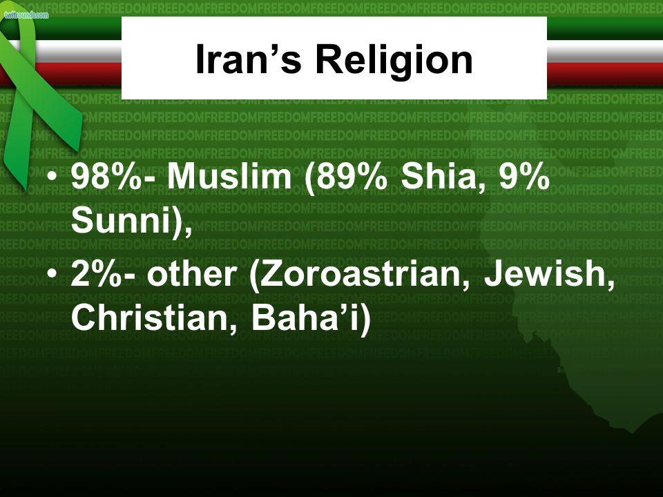 Iran's Languages 58% Persian/Persian Dialects 26% Turkic/Turkic Dialects 9% Kurdish 2% Luri 1% Balochi 1% Arabic 1% Turkish 2% Other
