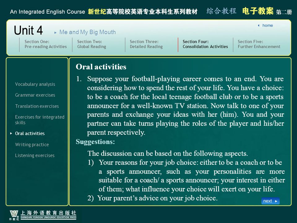 Vocabulary analysis Grammar exercises Translation exercises Oral activities Section Four: Consolidation Activities SectionFour_O_1 Exercises for integrated skills Writing practice Listening exercises Section Five: Further Enhancement Section One: Pre-reading Activities Section Two: Global Reading Section Three: Detailed Reading Me and My Big Mouth The discussion can be based on the following aspects.