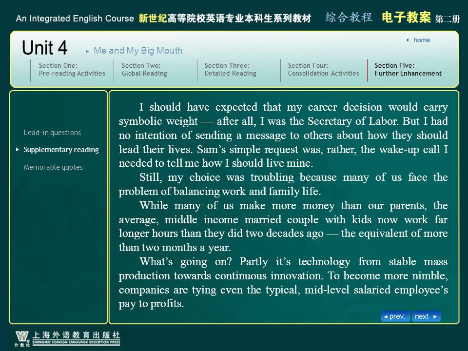 Lead-in questions Section Four: Consolidation Activities Section Five: Further Enhancement SectionFive_text3 Memorable quotes Section One: Pre-reading Activities Section Two: Global Reading Section Three: Detailed Reading Me and My Big Mouth Supplementary reading I should have expected that my career decision would carry symbolic weight — after all, I was the Secretary of Labor.