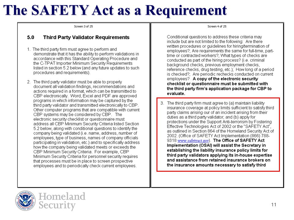 11 The SAFETY Act as a Requirement