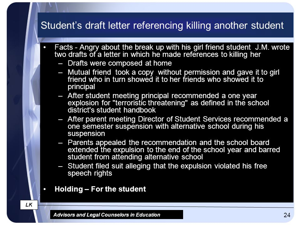 Advisors and Legal Counselors in Education LK 24 Student's draft letter referencing killing another student Facts - Angry about the break up with his