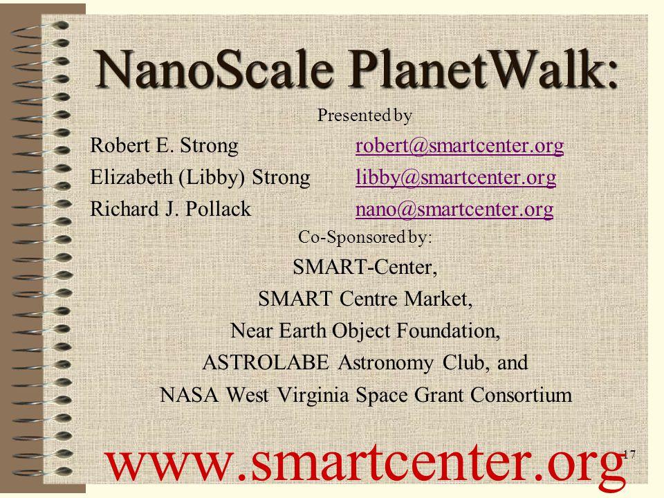16 NanoScale PlanetWalk NanoScale PlanetWalk ACTIVITY #9b Proxima Centauri – closest star to Sun The MATH… Proxima Centauri is 202,000 km in diameter