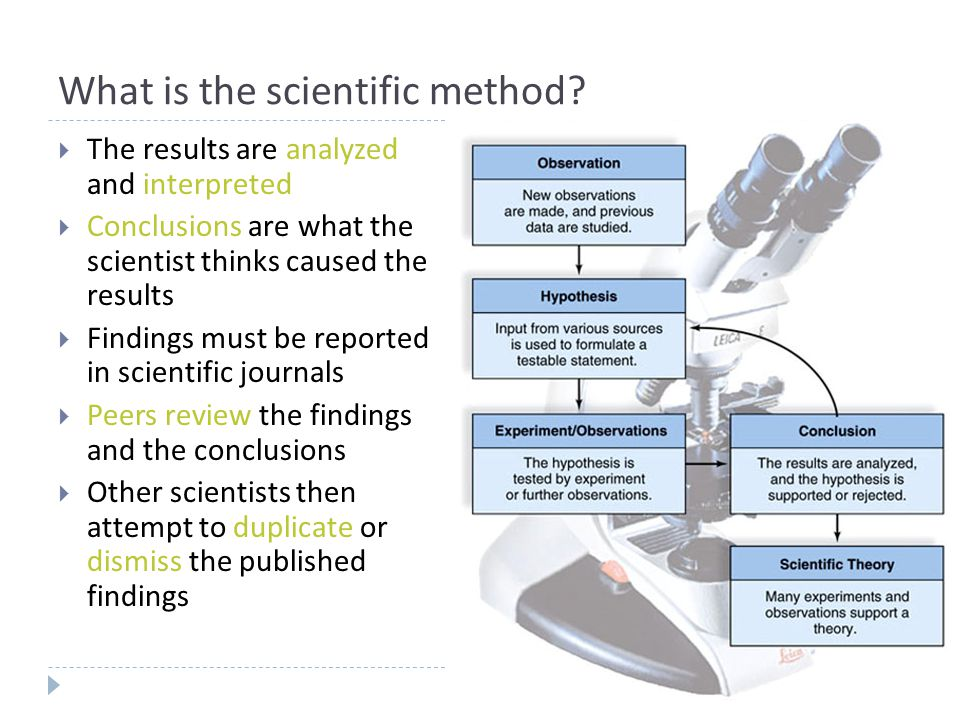 What is the scientific method?  The results are analyzed and interpreted  Conclusions are what the scientist thinks caused the results  Findings mu