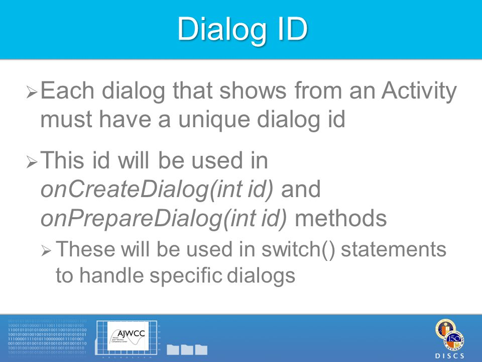 Notes:  Note the getApplicationContext() calls in defining DialogInterface.OnClickListener  Retrieves the Activity instance  Can't use this since it will refer to the DialogInterface.OnClickListener instance  Lists of strings do not need to be hard-coded, they can also be placed in the values