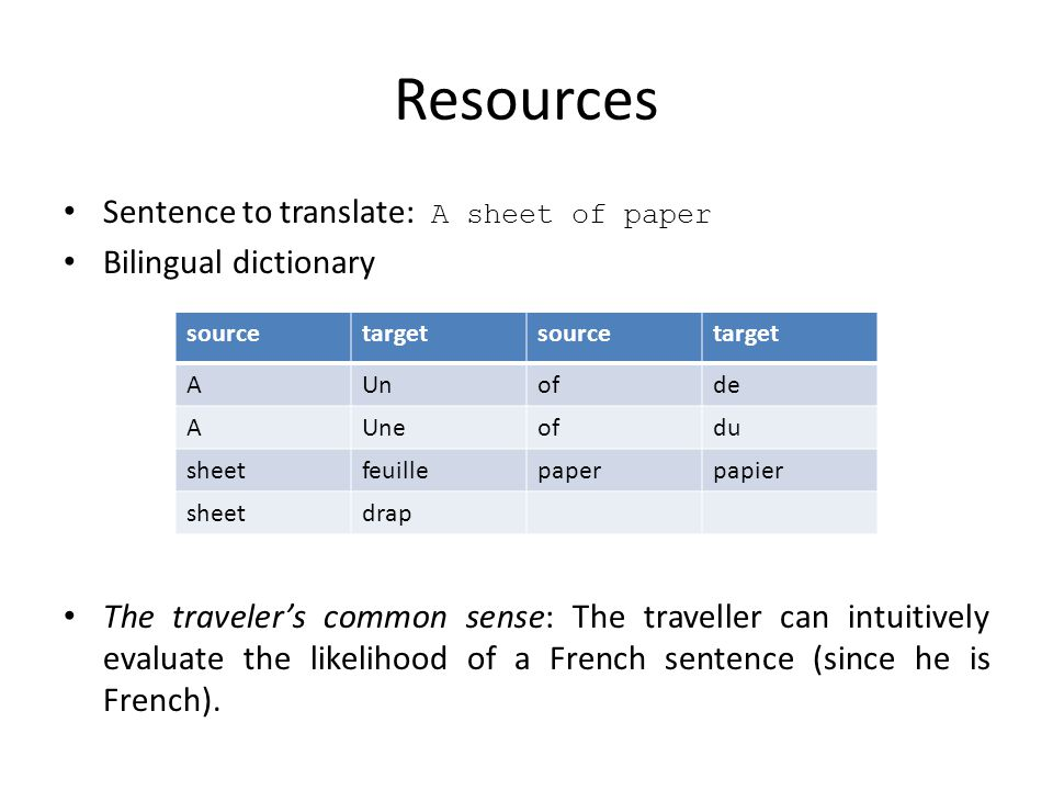 Resources Sentence to translate: A sheet of paper Bilingual dictionary The traveler's common sense: The traveller can intuitively evaluate the likelihood of a French sentence (since he is French).