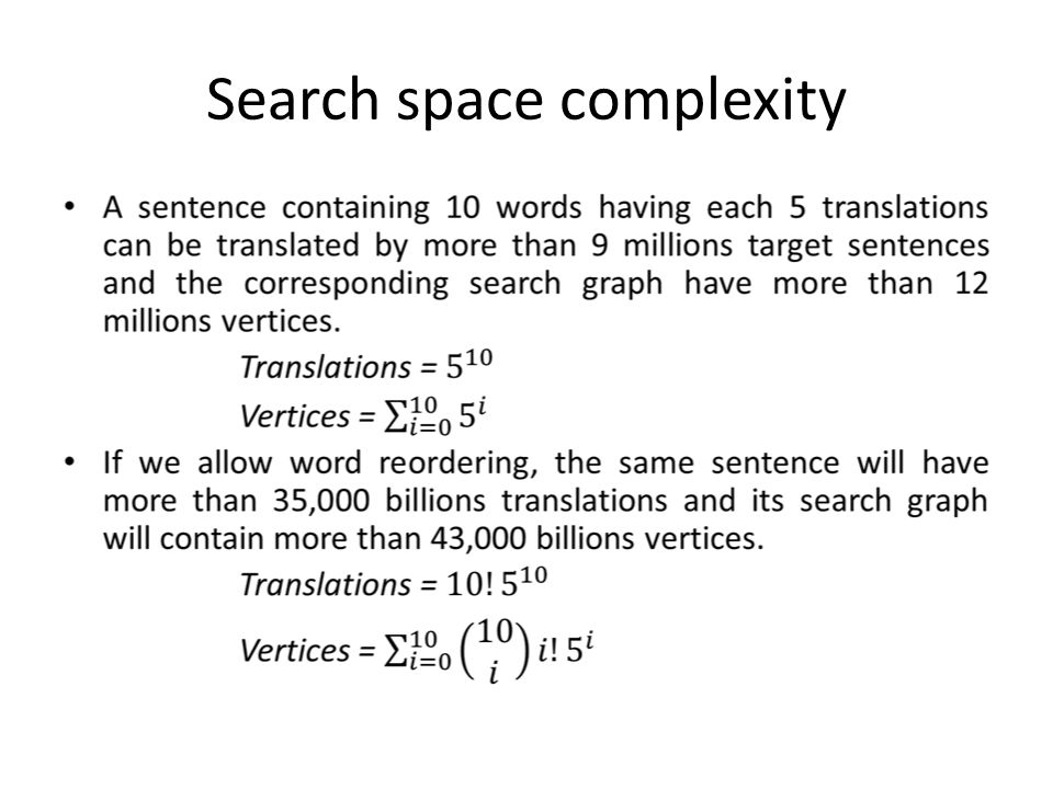 Search space complexity