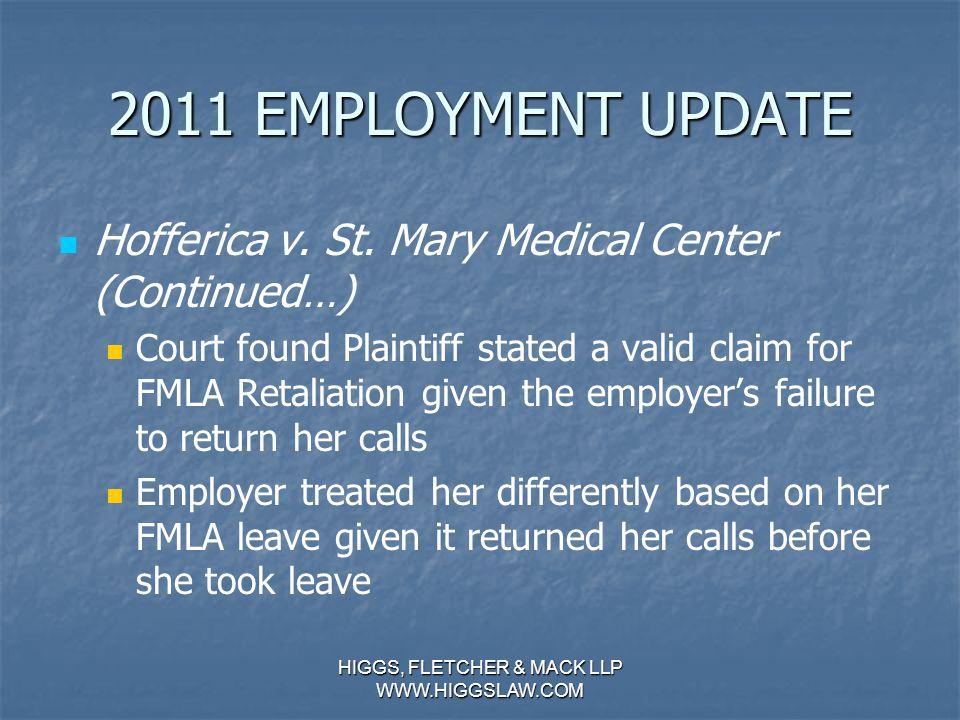 2011 EMPLOYMENT UPDATE Hofferica v. St.