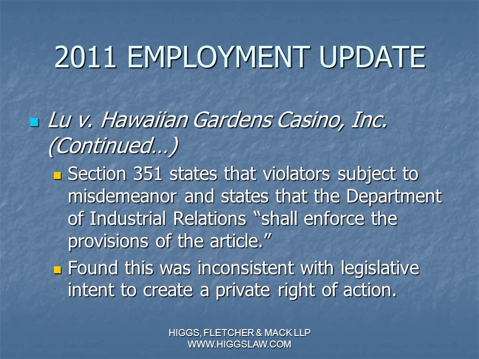 2011 EMPLOYMENT UPDATE Lu v. Hawaiian Gardens Casino, Inc.