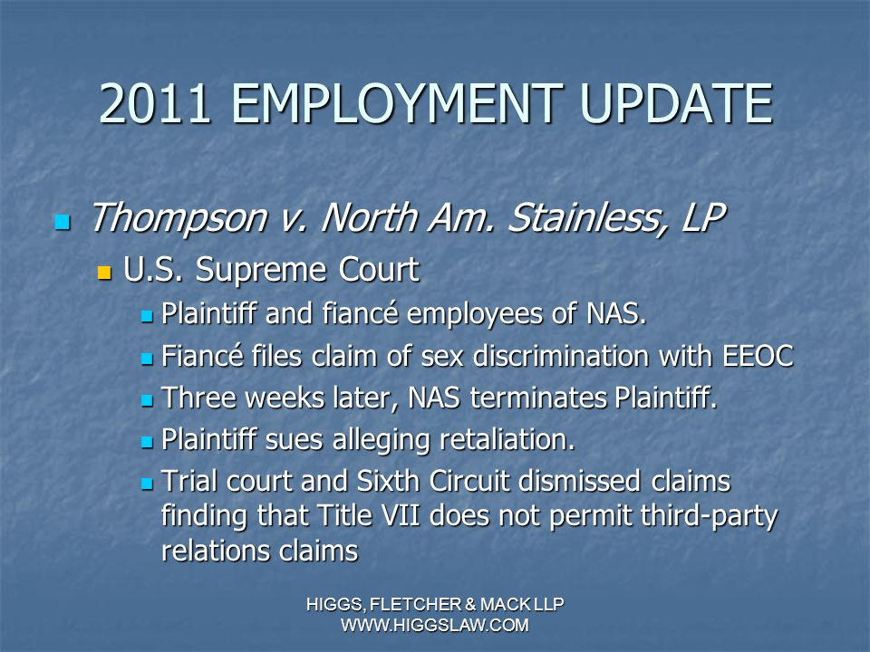 2011 EMPLOYMENT UPDATE Futrell v.Payday, Inc. (Continued…) Futrell v.