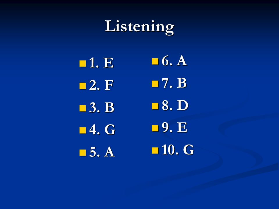 Listening 1. E 1. E 2. F 2. F 3. B 3. B 4. G 4.