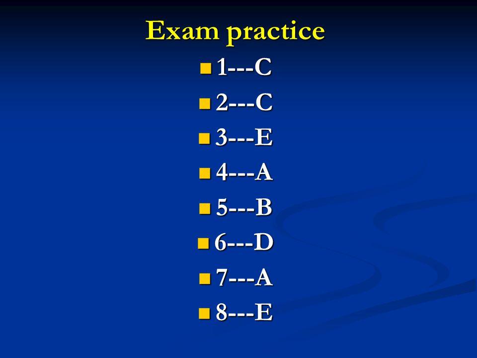 Exam practice 1---C 1---C 2---C 2---C 3---E 3---E 4---A 4---A 5---B 5---B 6---D 6---D 7---A 7---A 8---E 8---E