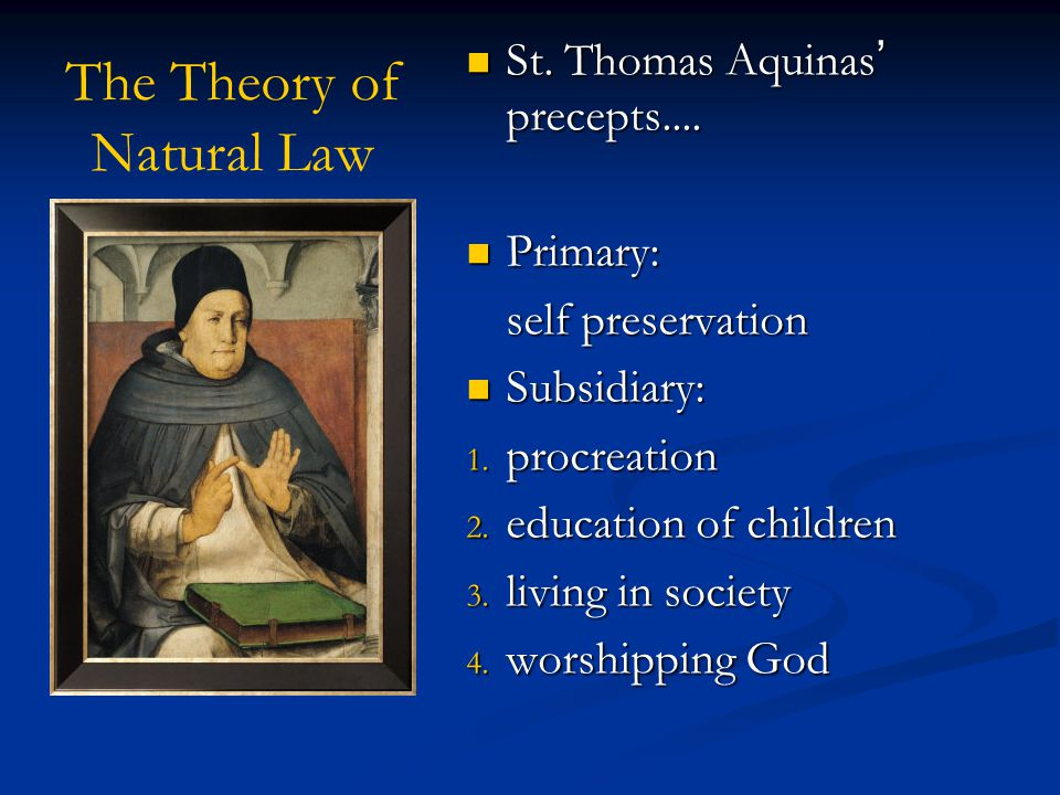 The Theory of Natural Law St. Thomas Aquinas' precepts....