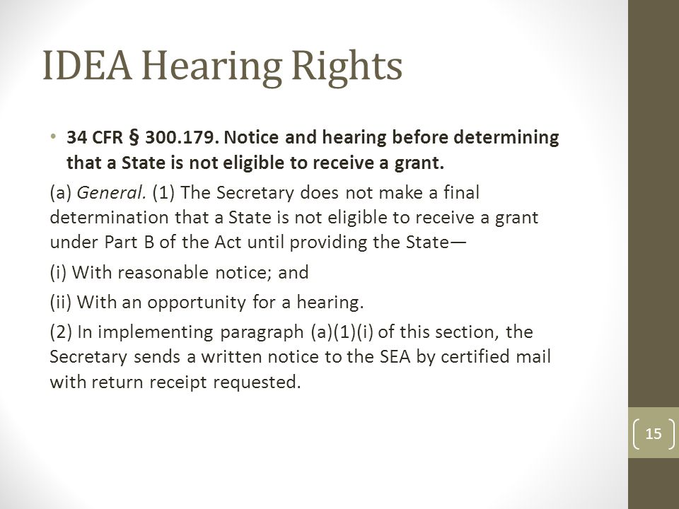 IDEA Hearing Rights 34 CFR § 300.179.