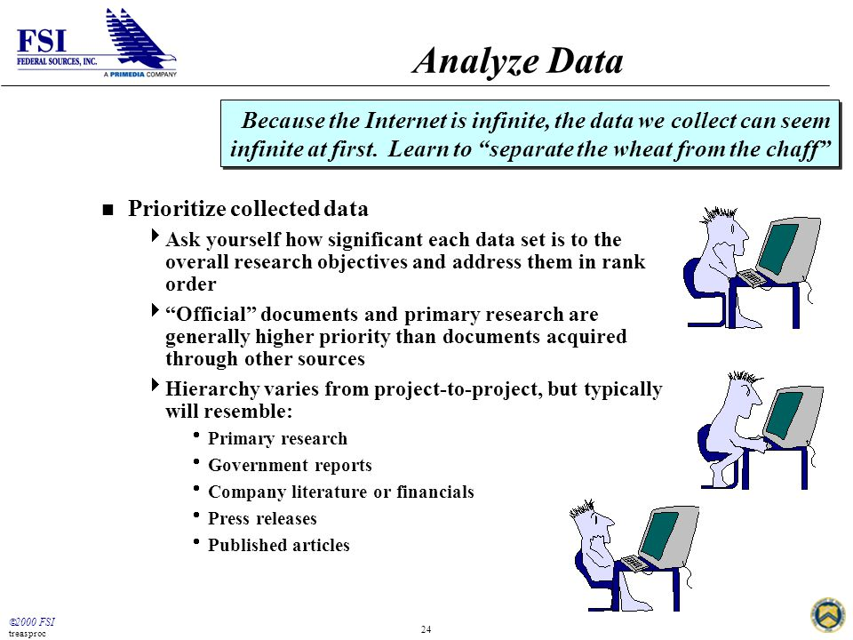  2000 FSI treasproc 24 Analyze Data n Prioritize collected data  Ask yourself how significant each data set is to the overall research objectives an