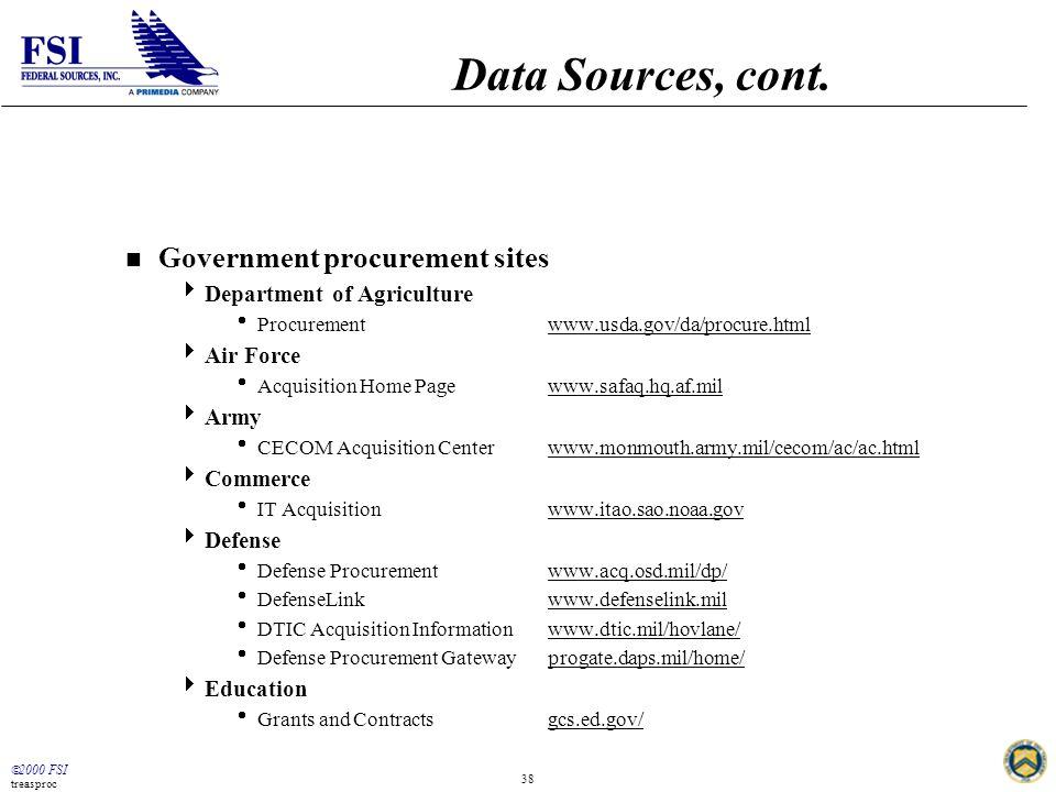  2000 FSI treasproc 38 Data Sources, cont.