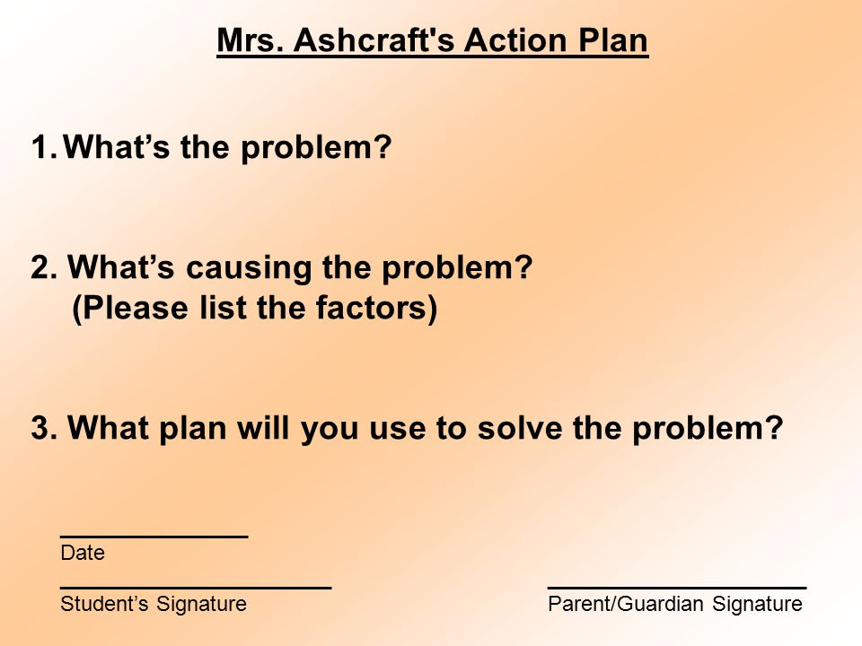 Mrs. Ashcraft s Action Plan 1.What's the problem.